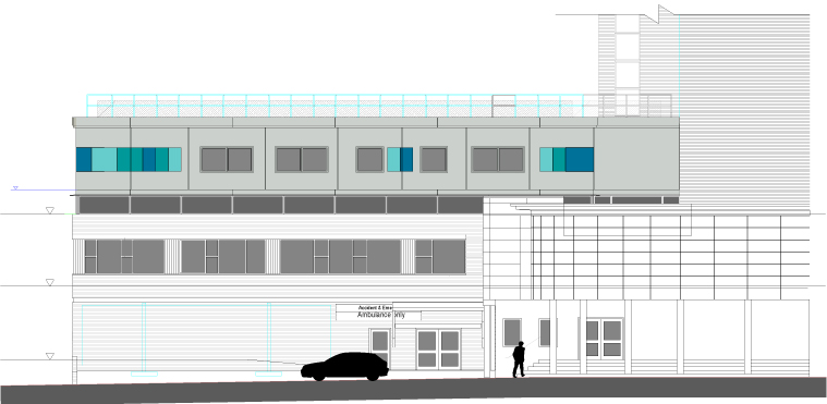 Plan elevation of modular hospital ward