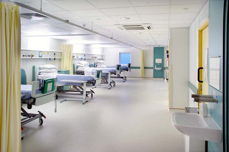 Hospital beds in open ward