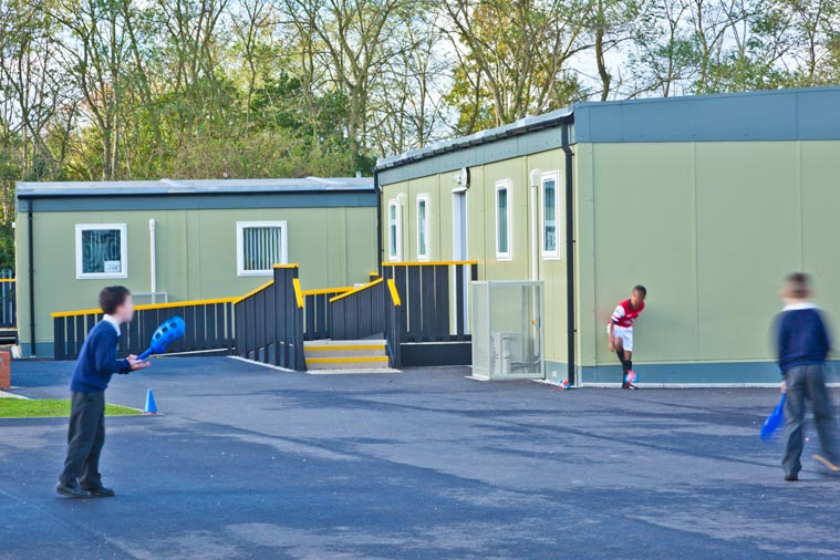 Modular refurbished classroom and playground