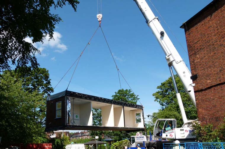 Movement of prefabricated buildings