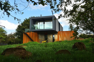 Modular home built from shipping containers