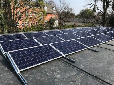 solar panels pv panels on modular roof tennis pavilion