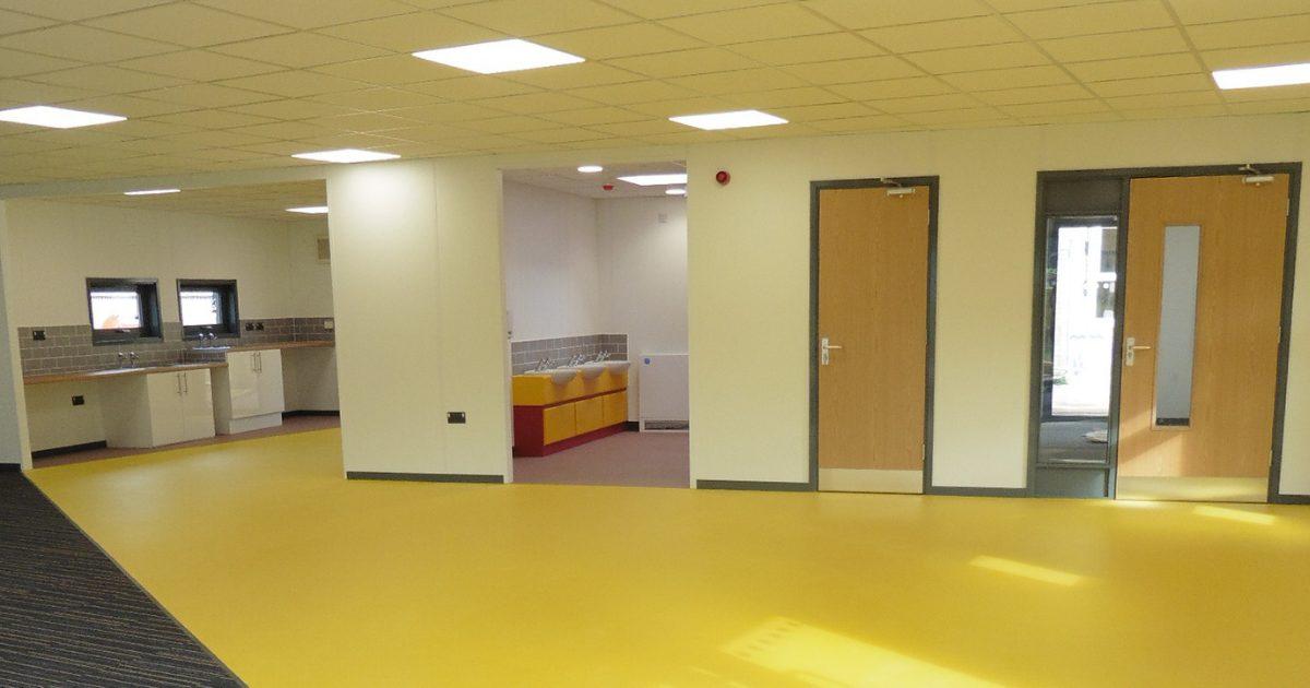 modular building vinyl floor