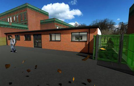 Wollaston Exterior With Brick Render 3D Modular School Building-min