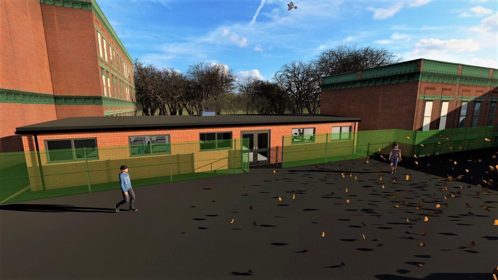 Wollaston School Modular Building & Landscape Revit 3D Visual