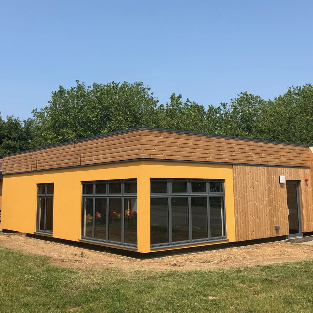 Timber Clad Modular Classroom Building By MPH-min